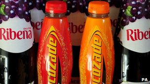Ribena and Lucozade bottles