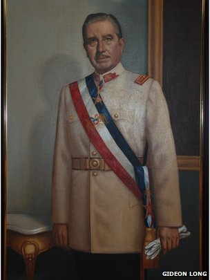 A portrait of Gen August Pinochet in the Pinochet museum in Santiago in September 2013