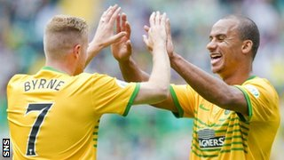 Nicky Byrne and Gabriel Agbonlahor celebrate