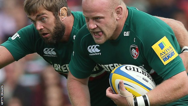 Leicester's Geoff Parling and Dan Cole