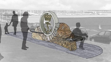 Design of the memorial to the Dutch Navy planned for Holyhead