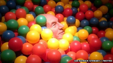 Sir Patrick Stewart in a ball pool