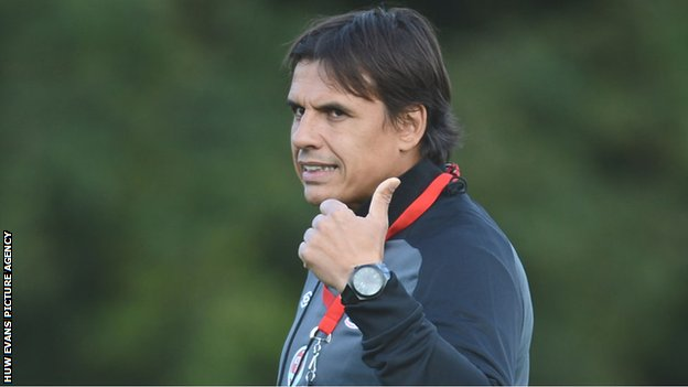 Chris Coleman takes a Wales training session