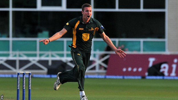 Notts bowler Jake Ball celebrates a wicket