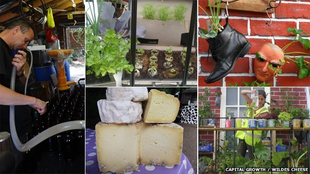 Composite image showing, clockwise from top left: Peter Newton bottling London cider, images from the Capital Growth show garden at The Hampton Court Palace Flower Show, London-produced cheeses from Wildes Cheese