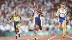 American Michael Johnson winning the 400m in Atlanta, 1996