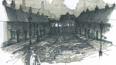 Peaky Blinders set sketch by Grant Montgomery