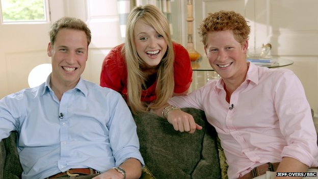 Prince William, Fearne Cotton and Prince Harry