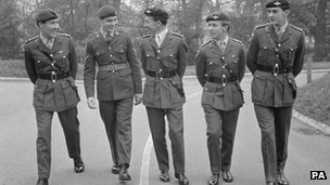 Edward Loden (second from right) with four other members of the 1st Parachute Battalion Group in 1968