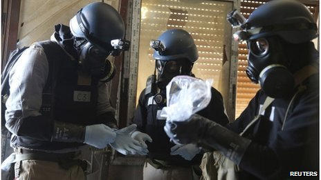 UN chemical weapons experts visited the site of an attack last month