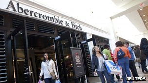 Customers leave an Abercrombie and Fitch store at South Park mall in Charlotte, North Carolina 25 Novermber 20111