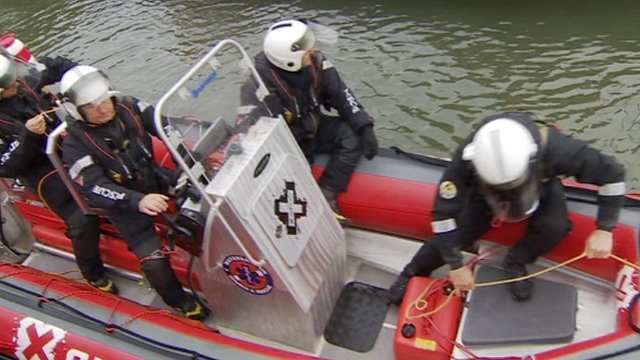 The  team of search and rescue workers as they were setting off