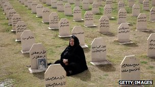 An Iraqi Kurdish woman visits the grave of a relative killed in the Halabja attack