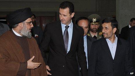 Sheikh Hassan Nasrallah, Bashar al-Assad and Mahmoud Ahmadinejad (file photo)