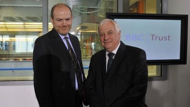 Mark Thompson, left, and Lord Patten gave evidence to the Public Accounts Committee