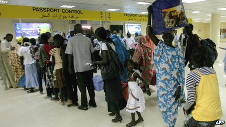 Passport control at an airport in Khartoum, Sudan