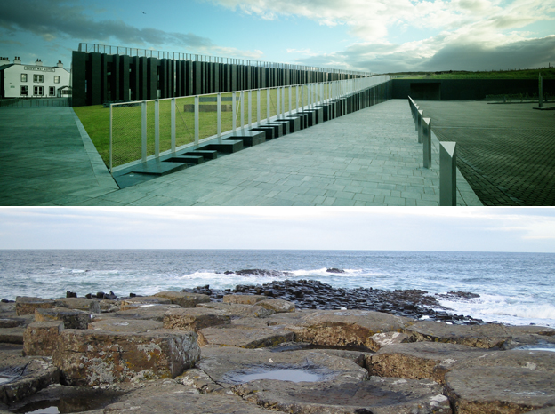 Picture of sloping walkway in centre; picture of coastline with shallow slope