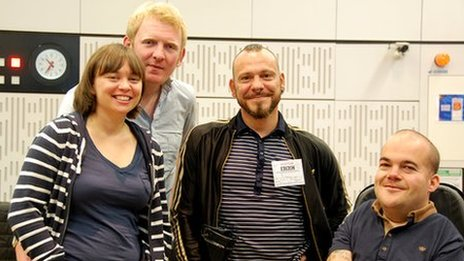 Presenters Kate Monaghan and Rob Crossan with panellists Daryl Beeton and Asta Philpot