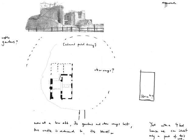 An old photograph of the ruins and sketch of the proposed house