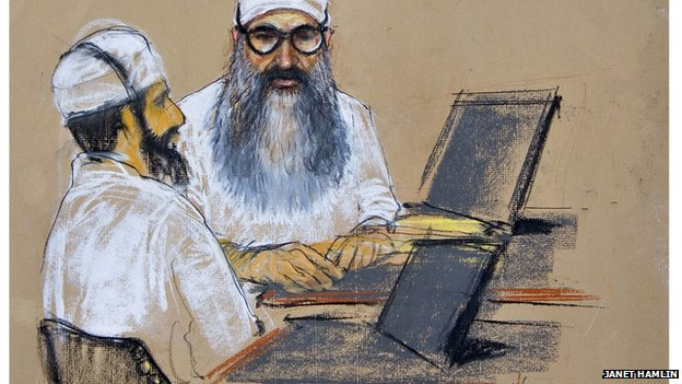 Illustration of Mohammed in the courtroom