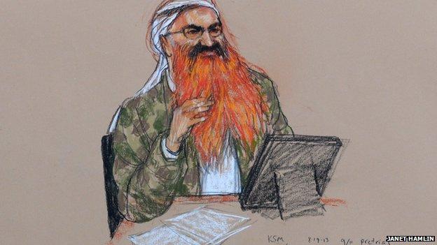 Courtroom illustration of Mohammed