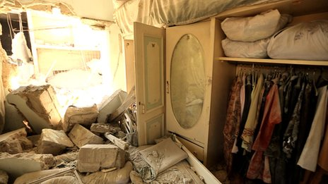 A house damaged by aerial bombardment