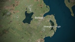 Map of Northern Ireland featuring Strangford Lough