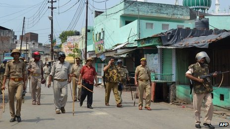 Members of the Indian Army during a curfew in Muzaffarnagar on September 10, 2013.