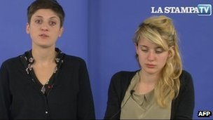 Metella and Eleonora, the daughters of the Italian journalist Domenico Quirico, in a video appeal for information about their missing father broadcast on the website of La Stampa on 1 June