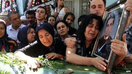 Relatives of Ahmet Atakan at his funeral