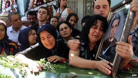 Relatives of Ahmet Atakan at his funeral