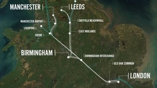 Proposed route for HS2 rail project