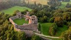 Dinefwr Castle in Carmarthenshire as seen from a balloon