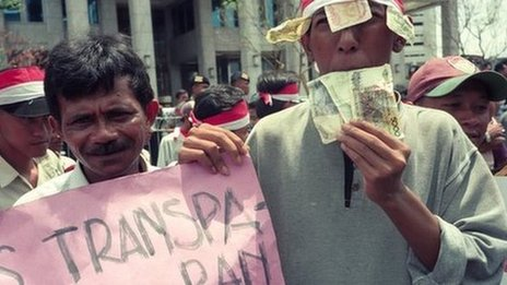 Indonesians protest against the plunging value of the rupiah, Jan 1998: