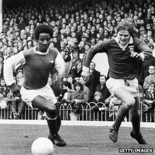 Brendan Batson, left, playing for Arsenal in 1973