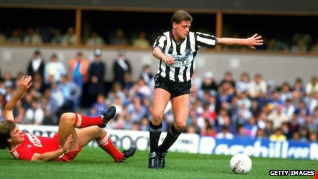 Paul Gascoigne playing for Newcastle v Liverpool in 1986