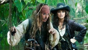 Johnny Depp and Penelope Cruz in Pirates of the Caribbean: On Stranger Tides