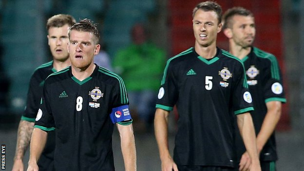 Northern Ireland's disappointed players after the defeat by Luxembourg