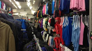 Long rows of clothes