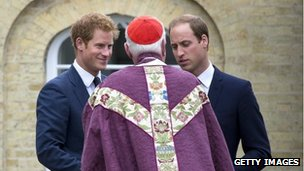 Prince Harry and Prince William attend the funeral of a family friend