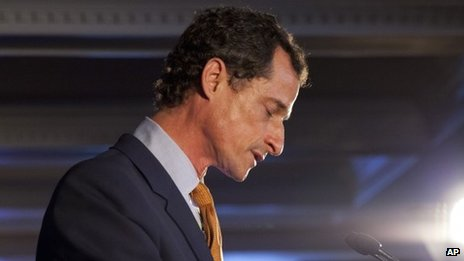 Democratic mayoral hopeful Anthony Weiner makes his concession speech at Connolly's Pub in midtown New York on 10 September 2013