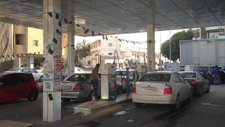 Petrol station in Tripoli in Libya