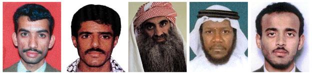 Ali Abd al-Aziz Ali, Waleed bin Attash, Khalid Sheikh Mohammed, Mustafa Ahmad al-Hawsawi and Ramzi Binalshibh