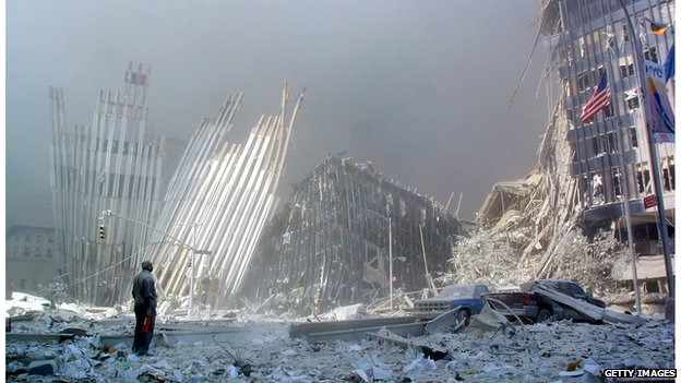 Rubble in New York after 2001 attacks