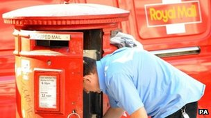 Postman collecting letters