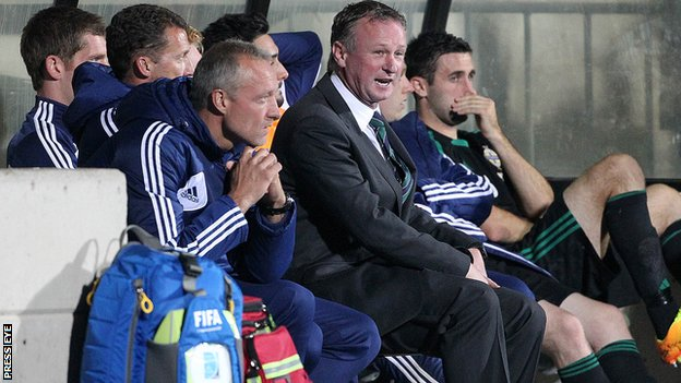 Michael O'Neill in the dugout during the Luxembourg defeat