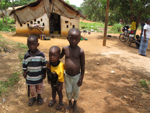 Children in the village of Mogbaima in Sierra Leone