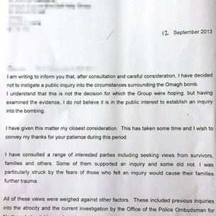 A letter announcing the decision was hand delivered to Omagh relatives