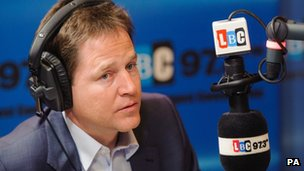 Nick Clegg in LBC studio
