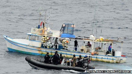 Counter-narcotics personnel detaining a suspicious vessel in the Pacific